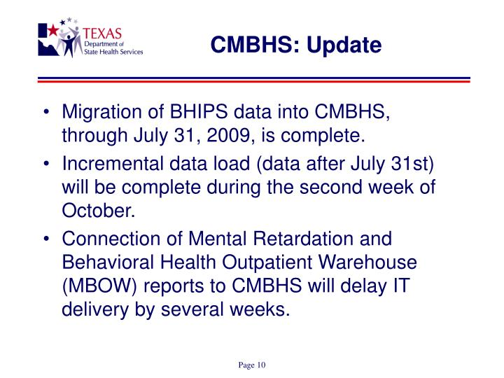 CMBHS: Update