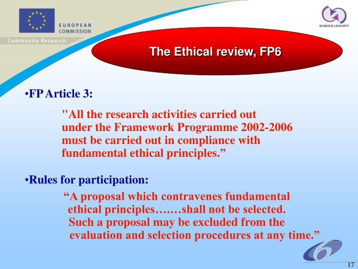 The Ethical review, FP6
