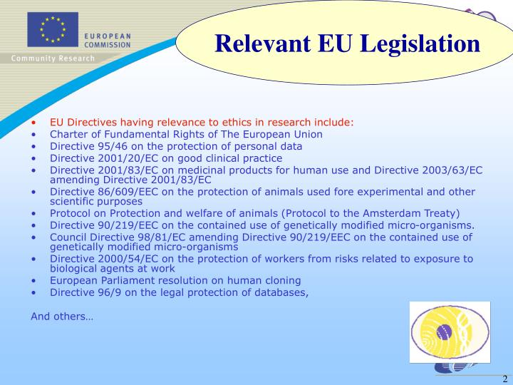 EU Directives having relevance to ethics in research include: