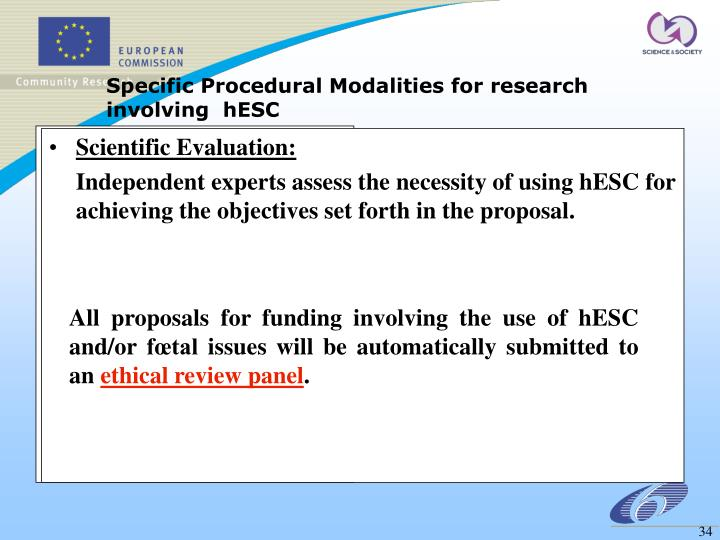 Specific Procedural Modalities for research involving  hESC