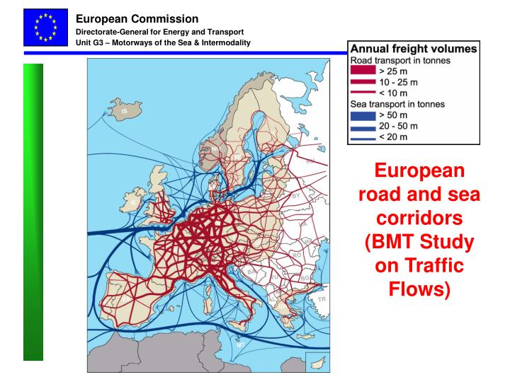 European road and sea corridors