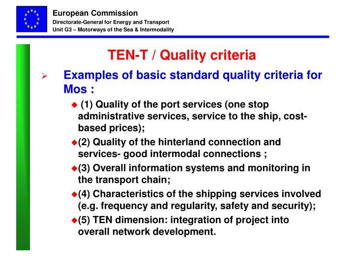 TEN-T / Quality criteria