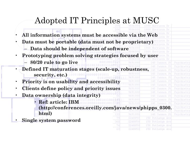 Adopted IT Principles at MUSC