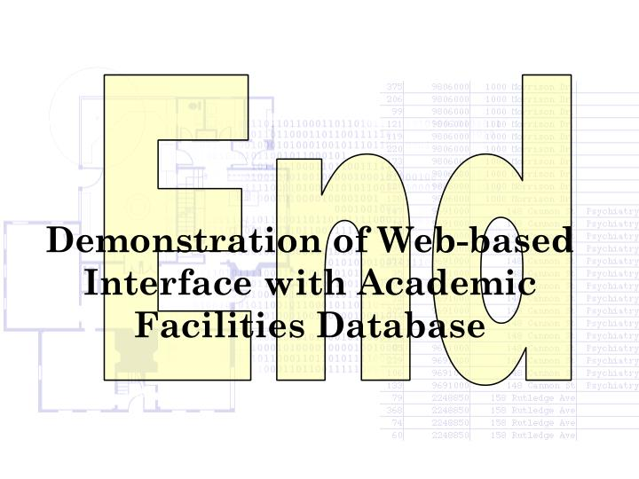 Demonstration of Web-based Interface with Academic Facilities Database