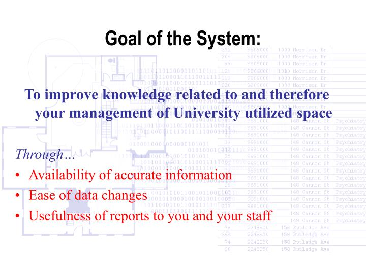 Goal of the System: