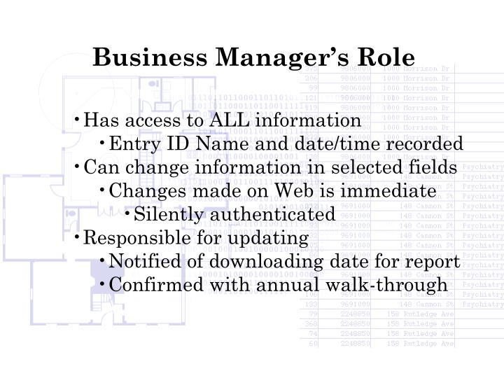 Business Manager's Role