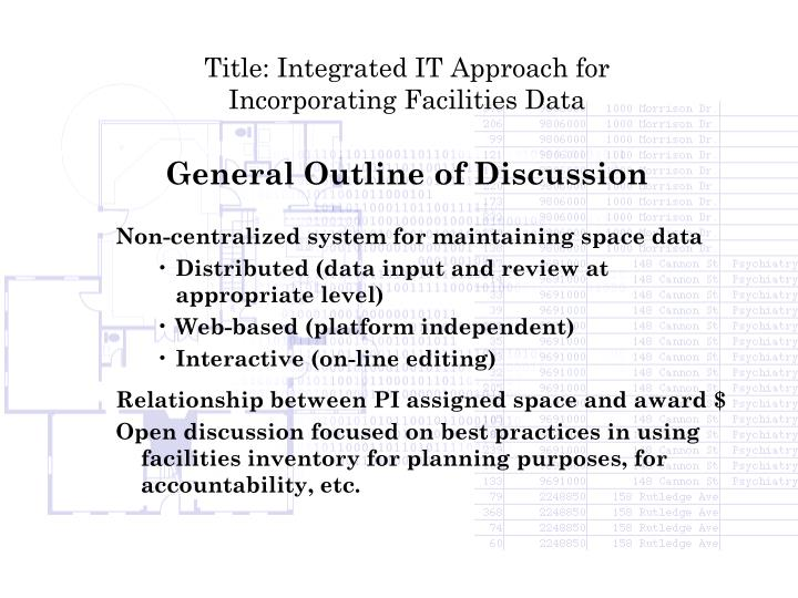 Title: Integrated IT Approach for Incorporating Facilities Data