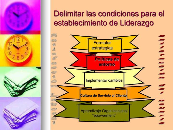 Delimitar las condiciones para el establecimiento de Liderazgo