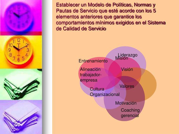 Establecer un Modelo de Políticas, Normas y Pautas de Servicio que esté acorde con los 5 elementos anteriores que garantice los comportamientos mínimos exigidos en el Sistema de Calidad de Servicio