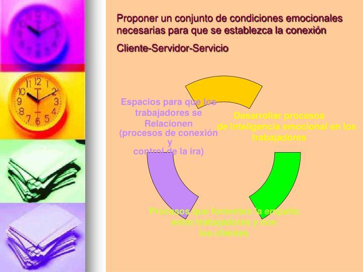 Proponer un conjunto de condiciones emocionales necesarias para que se establezca la conexión Cliente-Servidor-Servicio