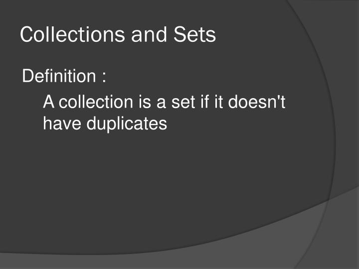 Collections and Sets