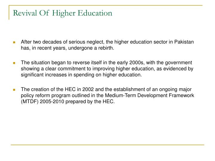 Revival Of Higher Education