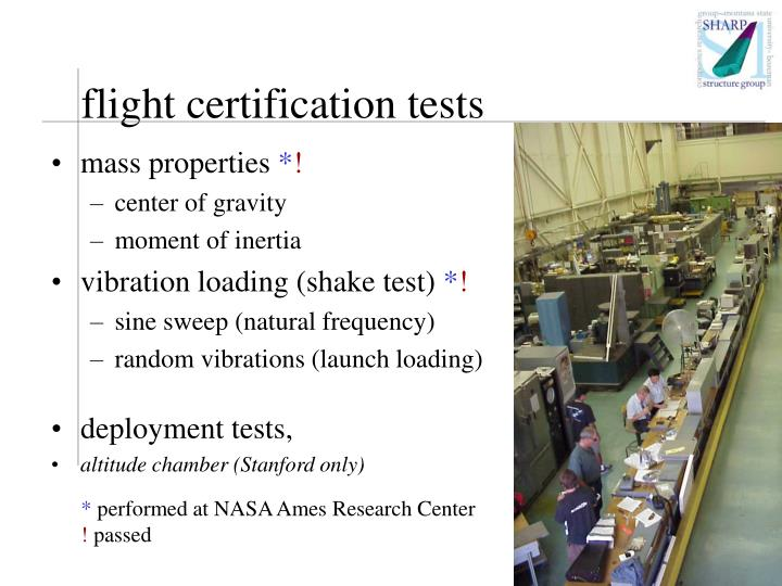 flight certification tests