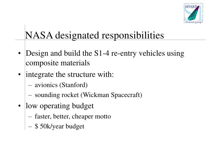 NASA designated responsibilities