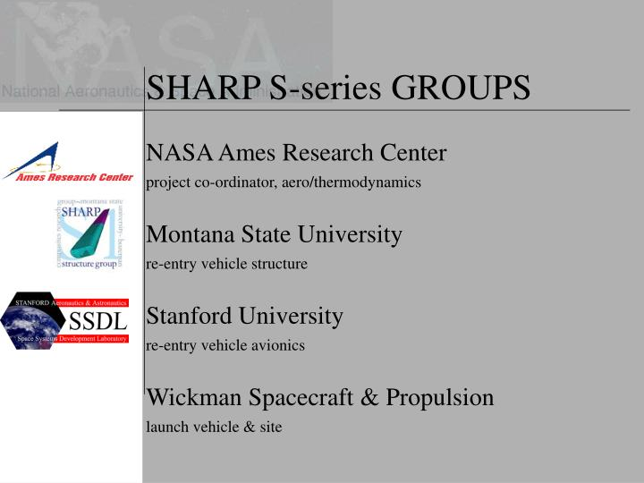 SHARP S-series GROUPS