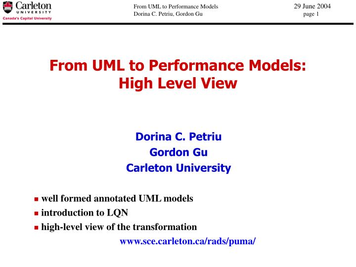 From uml to performance models high level view