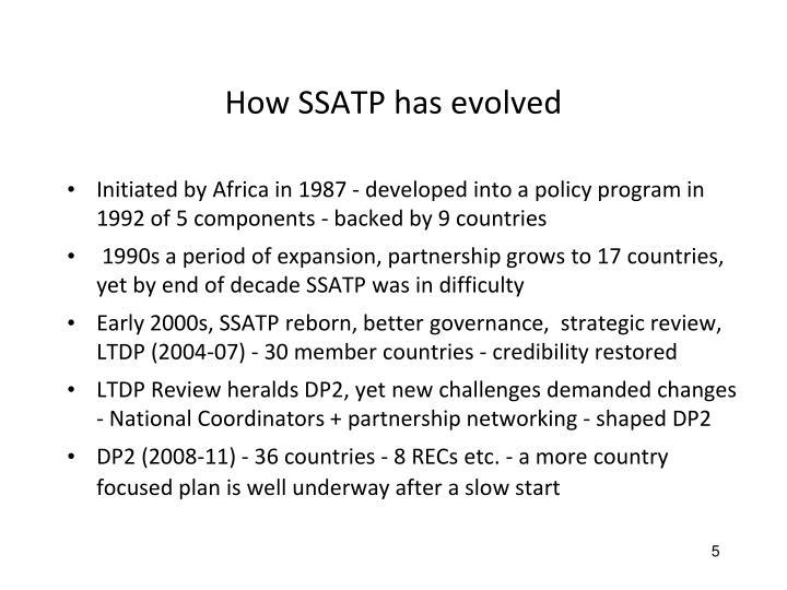 How SSATP has evolved