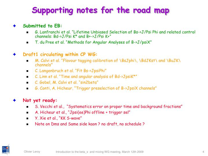 Supporting notes for the road map