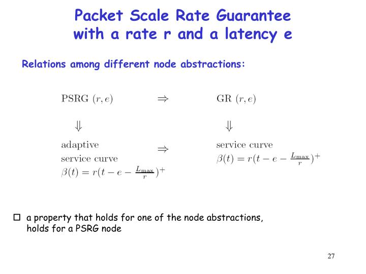 Packet Scale Rate Guarantee