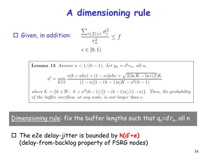 A dimensioning rule