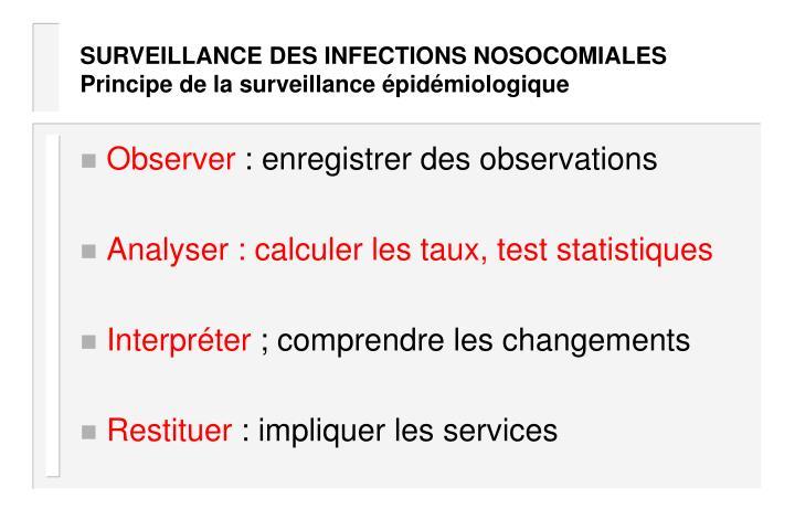 SURVEILLANCE DES INFECTIONS NOSOCOMIALES