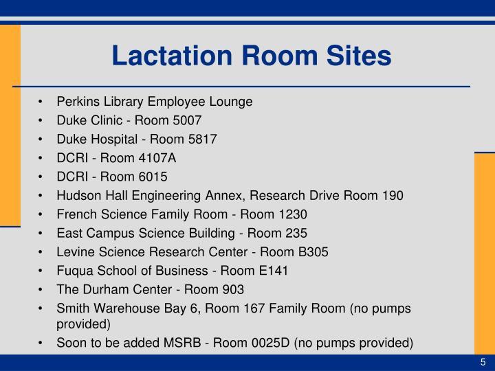 Lactation Room Sites