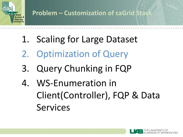 Problem – Customization of caGrid Stack