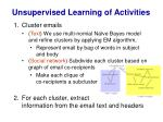 unsupervised learning of activities