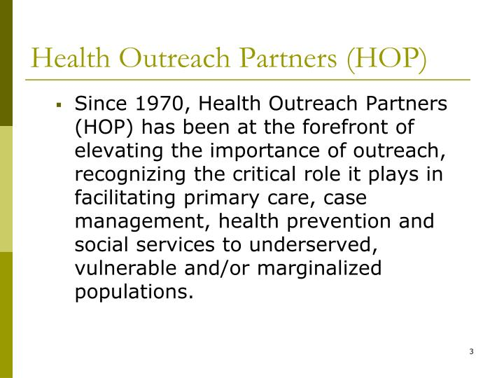 Health outreach partners hop