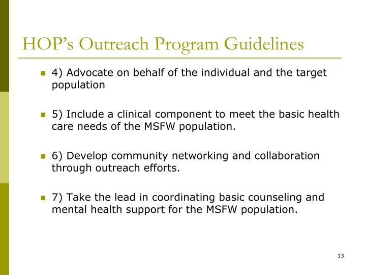 HOP's Outreach Program Guidelines