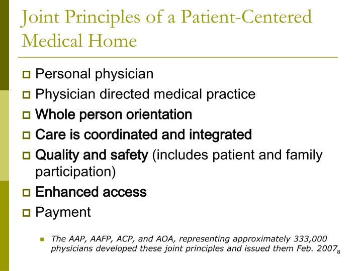 Joint Principles of a Patient-Centered Medical Home