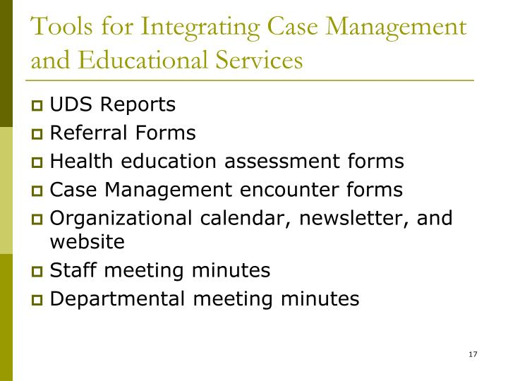 Tools for Integrating Case Management and Educational Services