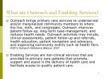 what are outreach and enabling services