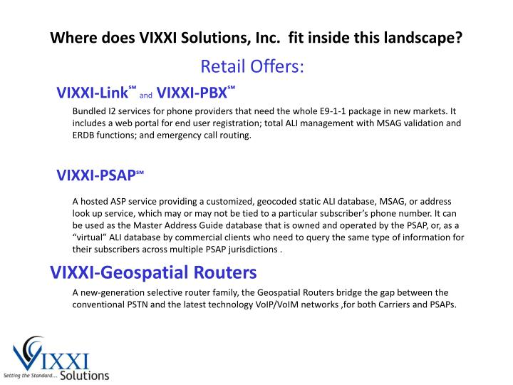Where does VIXXI Solutions, Inc.  fit inside this landscape?