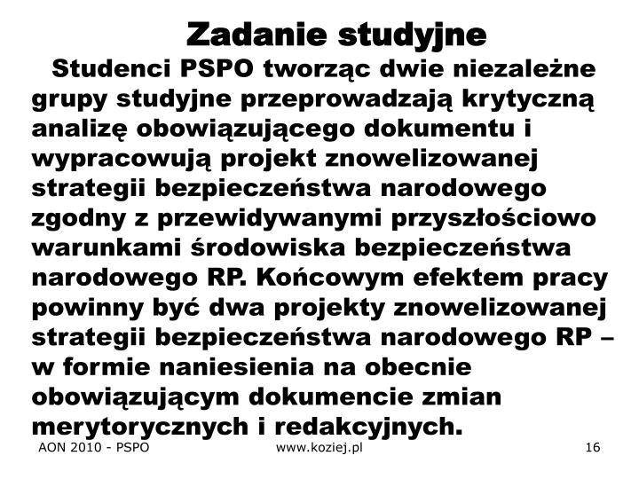 Zadanie studyjne