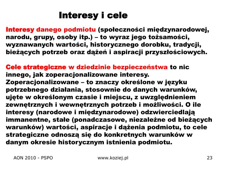Interesy i cele