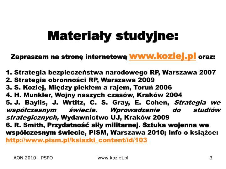 Materiały studyjne: