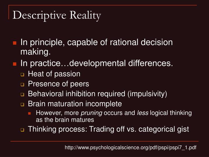 Descriptive Reality