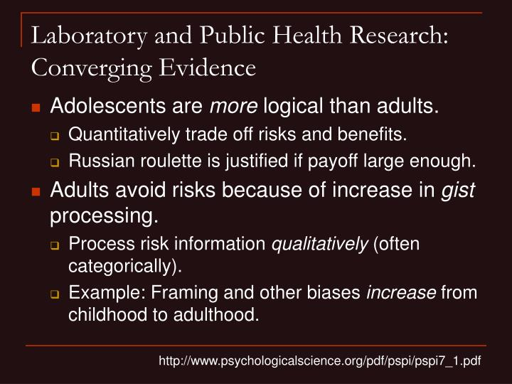 Laboratory and Public Health Research: