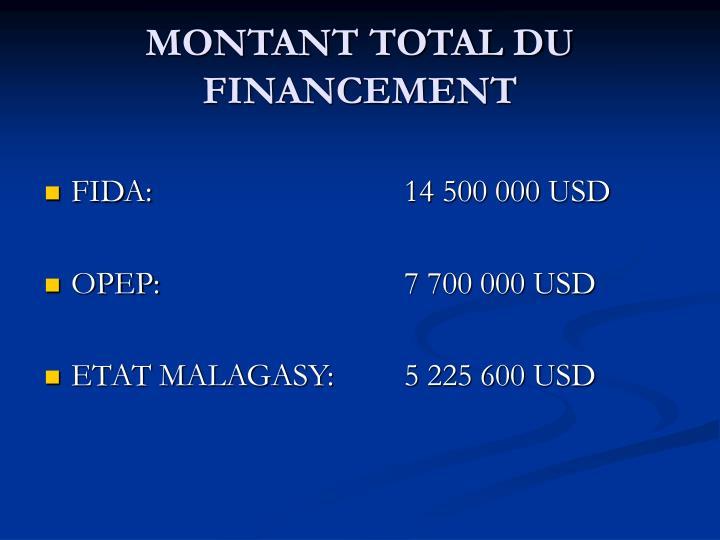 MONTANT TOTAL DU FINANCEMENT