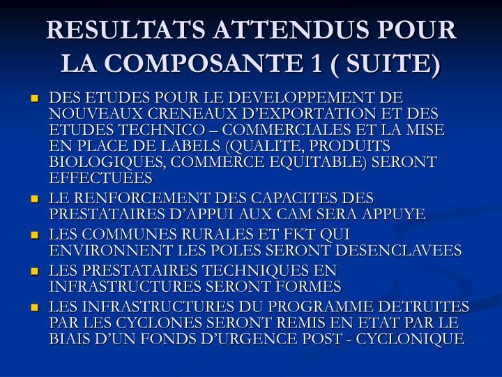 RESULTATS ATTENDUS POUR LA COMPOSANTE 1 ( SUITE)