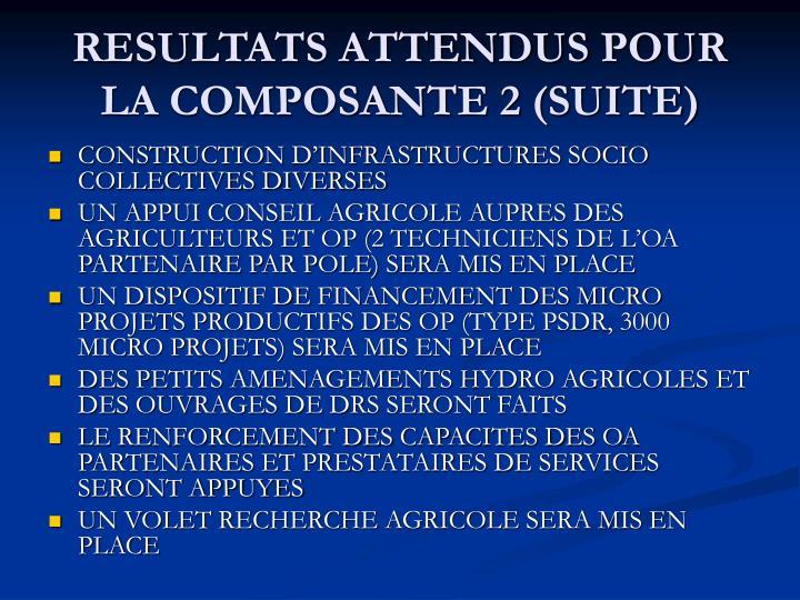 RESULTATS ATTENDUS POUR LA COMPOSANTE 2 (SUITE)