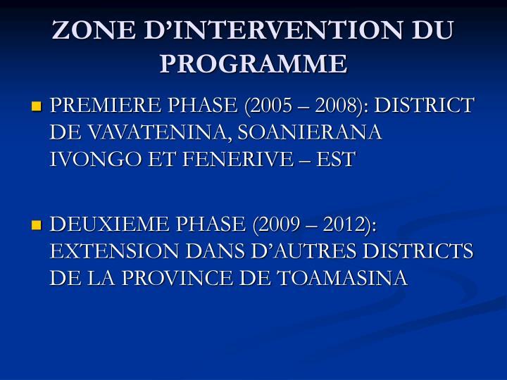 ZONE D'INTERVENTION DU PROGRAMME