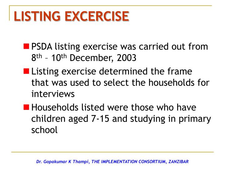 LISTING EXCERCISE