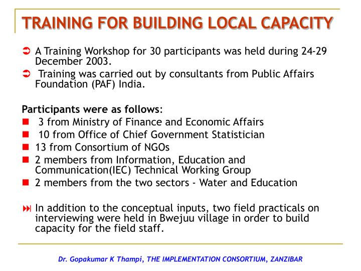 TRAINING FOR BUILDING LOCAL CAPACITY