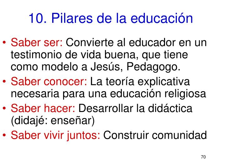 10. Pilares de la educación