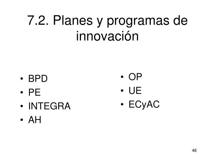 7.2. Planes y programas de innovación
