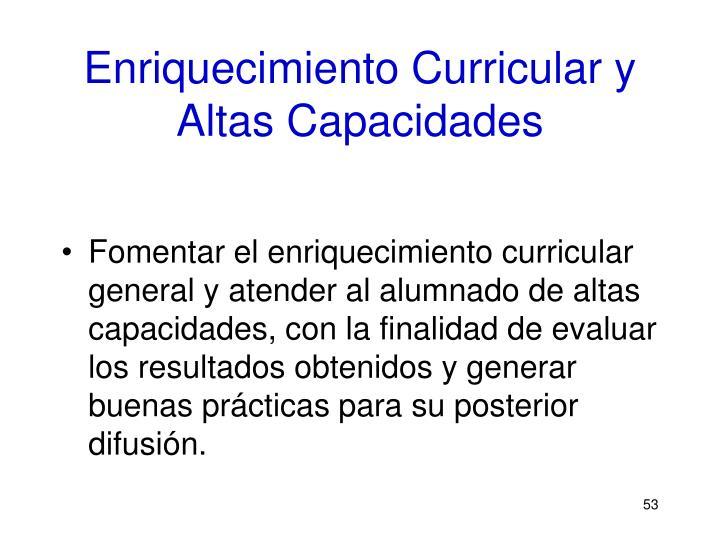 Enriquecimiento Curricular y Altas Capacidades