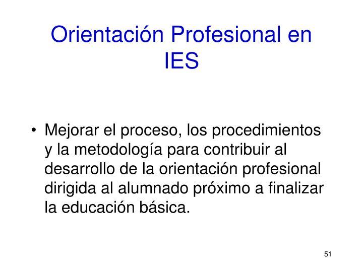 Orientación Profesional en IES