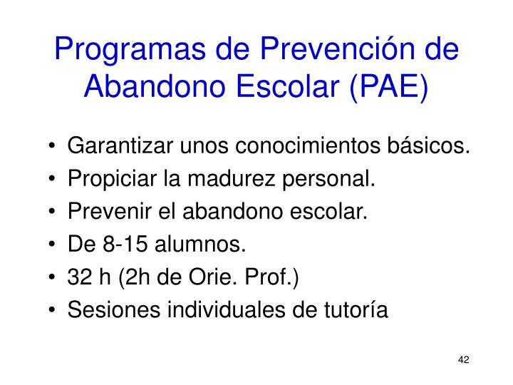 Programas de Prevención de Abandono Escolar (PAE)